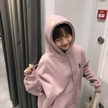 Modakawa Sweatshirt Pink / One Size Moon Little Cat Embroidery Hoodie