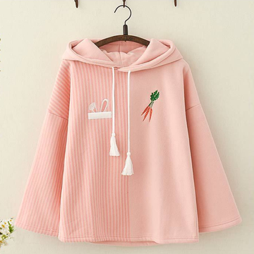 Modakawa Sweatshirt Pink / One Size Rabbit Ears Carrot Cartoon Embroidery Hoodie