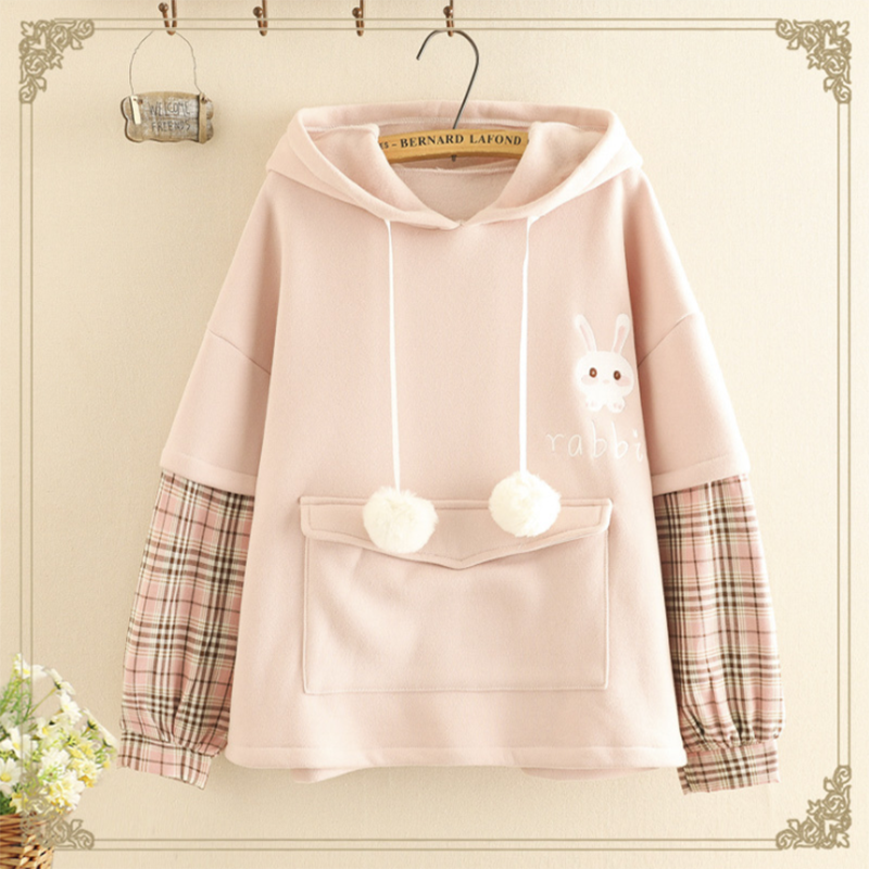 Modakawa Sweatshirt Pink / One Size Rabbit Ears Strawberry Plaid Hoodie