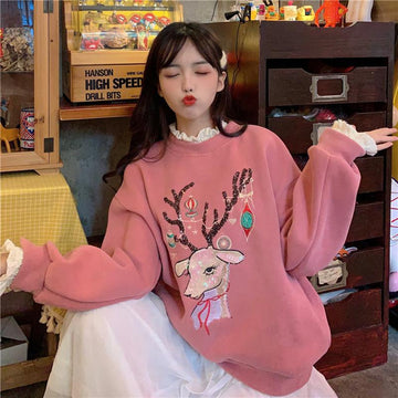 Modakawa Sweatshirt Pink / One Size Reindeer Embroidery Lace Sweatshirt Fake Two-Piece