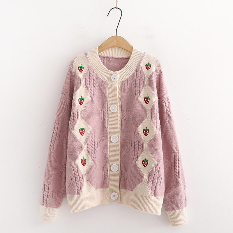 Modakawa Sweatshirt Pink / One Size Strawberry Embroidery Button Knitted Cardigan