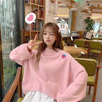 Modakawa Sweatshirt Pink / One Size Sweet Strawberry Embroidery Loose Sweater