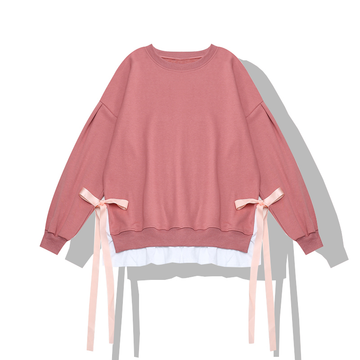 Modakawa Sweatshirt Pink Ribbon Bow Fake Two-Piece Sweatshirt