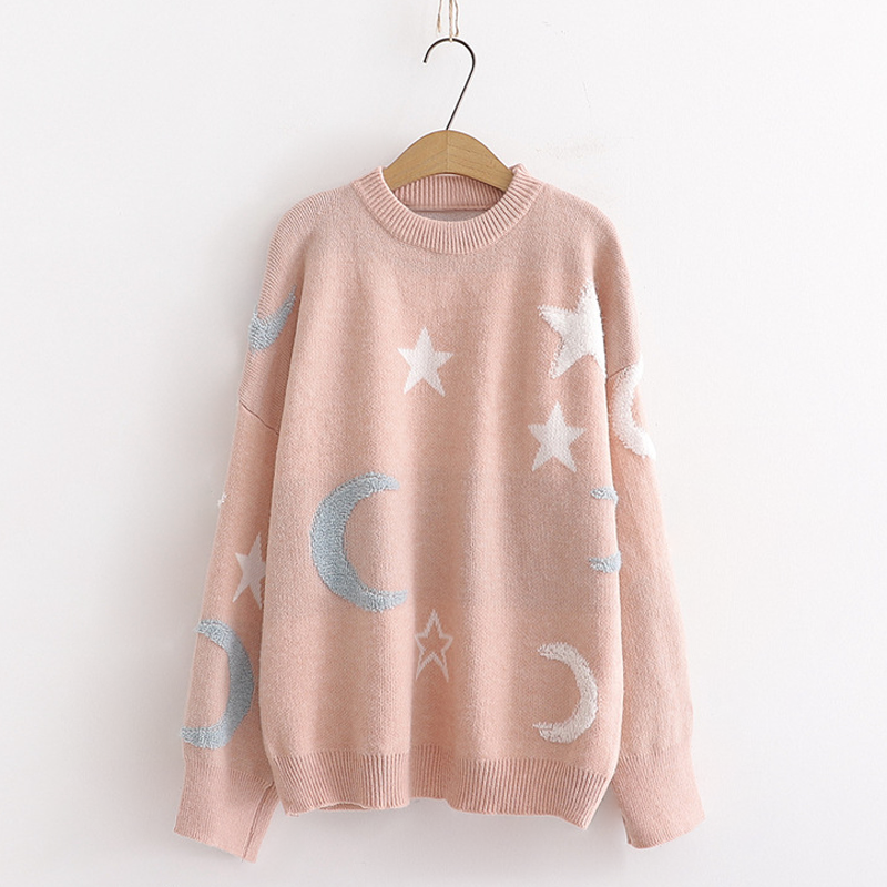 Modakawa Sweatshirt Pink Star Moon Loose Sweater