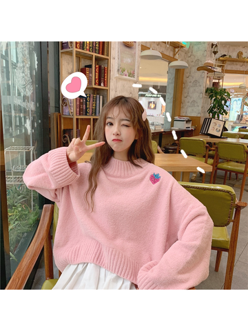 Modakawa Sweatshirt Pink Strawberry Embroidery Loose Sweater