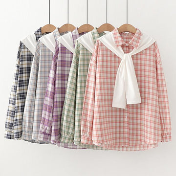 Modakawa Sweatshirt Plaid Sailor Collar Shirt Two-Piece