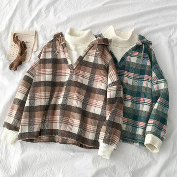 Modakawa Sweatshirt Plaid Turtleneck Fake Two-Piece Hoodie