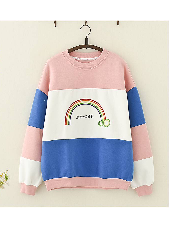 Modakawa Sweatshirt Print Rainbow Embroidery Color-block Sweatshirt