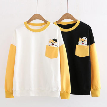 Modakawa Sweatshirt Puppy Pocket Color Block Round Neck Sweatshirt