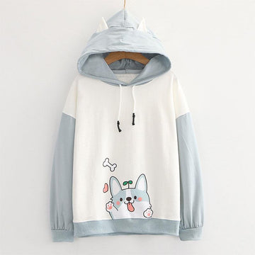 Modakawa Sweatshirt Puppy Print Ears Color Block Hoodie