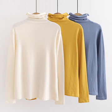Modakawa Sweatshirt Pure Color Turtleneck Sweater