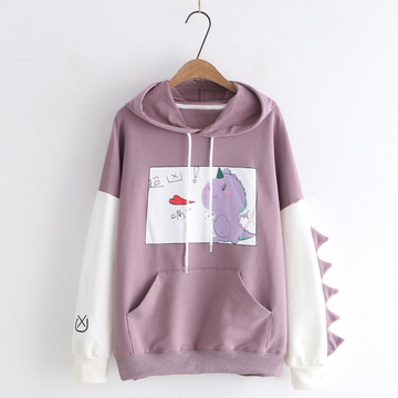 Modakawa Sweatshirt Purple / M Kawaii Cartoon Dinosaur Print Hoodie