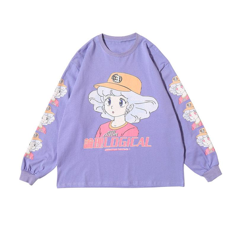 Modakawa Sweatshirt Purple / M LOGICAL Cartoon Girl Print Oversized Sweatshirt