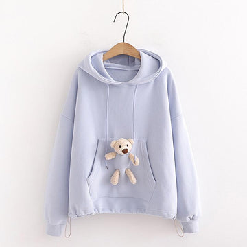 Modakawa Sweatshirt Purple / One Size Bear Doll Pocket Hoodie
