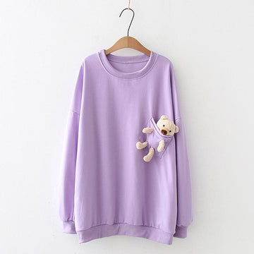 Modakawa Sweatshirt Purple / One Size Bear Pocket Loose Sweatshirt