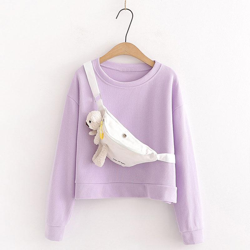 Modakawa Sweatshirt Purple / One Size Cute Bear Doll Bag Round Neck Short Sweatshirt Set