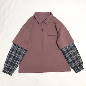 Modakawa Sweatshirt Purple / One Size Harajuku Polo Plaid Starfish Embroidery Pocket Sweatshirt
