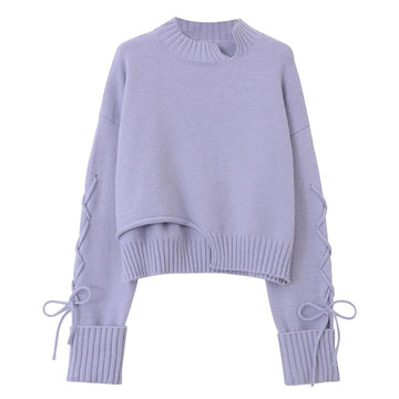Modakawa Sweatshirt Purple / One Size Lace Up Irregular Knitted Pullover Sweater