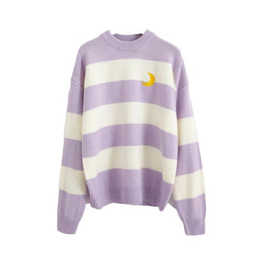 Modakawa Sweatshirt Purple / One Size Moon Embroidery Stripe Round Neck Sweater
