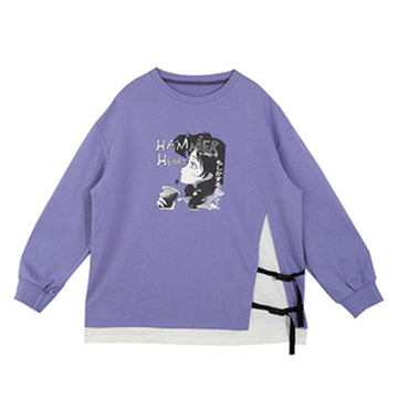 Modakawa Sweatshirt Purple / S HAMMER HEART Cartoon Fake 2pcs Sweatshirt