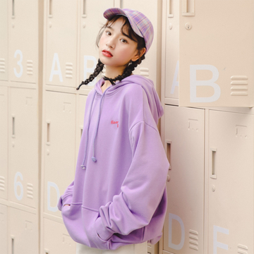 Modakawa Sweatshirt Purple / S Heart pure Letter Embroidery Hoodies Sweatshirt