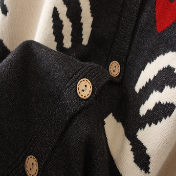 Modakawa Sweatshirt Rabbit Love Heart Cardigan Sweater