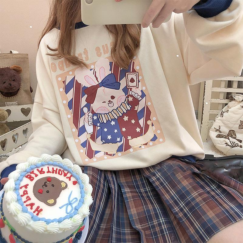 Modakawa Sweatshirt Rabbit Magician Print Color Block Sweatshirt