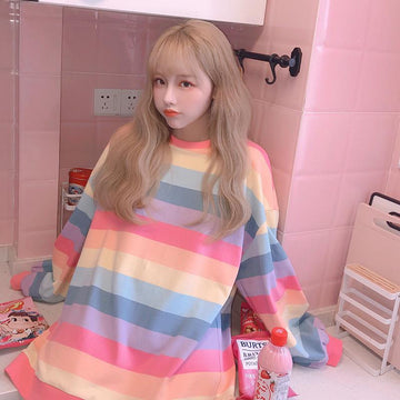 Modakawa Sweatshirt Rainbow Color Stripe Oversize Sweatshirt