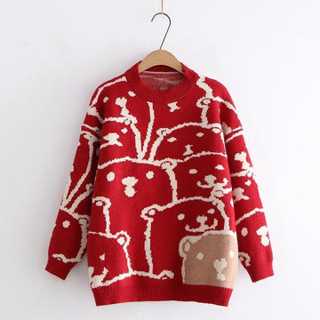 Modakawa Sweatshirt Red Bear Cartoon Loose Sweater