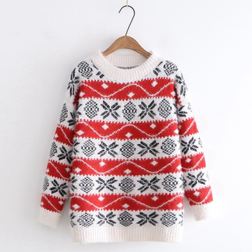 Modakawa Sweatshirt Red Holiday Snowflake Loose Sweater