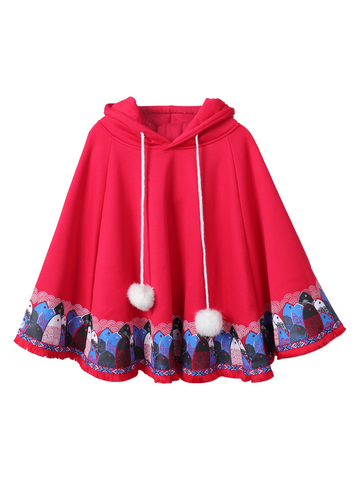Modakawa Sweatshirt Red Japanese Fish Patterned Plush Hooded Cape