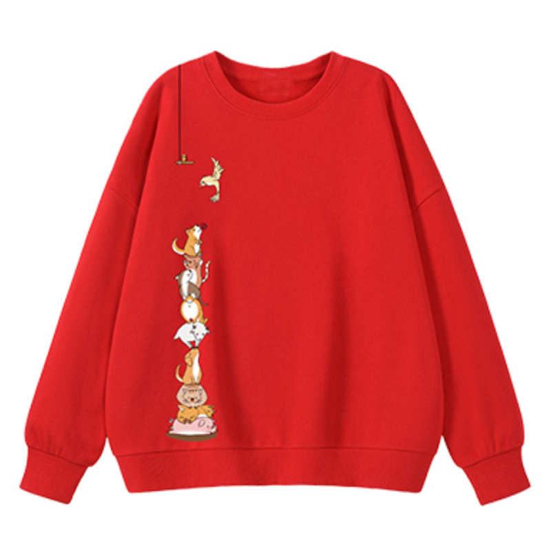 Modakawa Sweatshirt Red / M Animal Cartoon Print Round Neck Sweatshirt