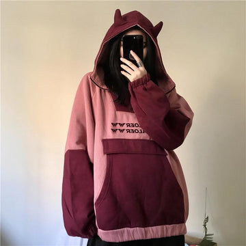 Modakawa Sweatshirt Red / M Ears Pocket Zipper Oversize Hoodie Inner Fleece