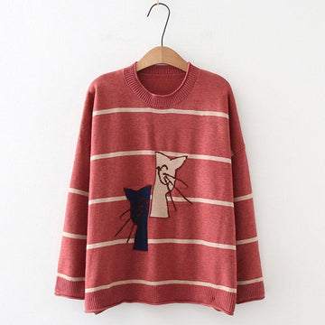 Modakawa Sweatshirt Red / One Size Cat Embroidery Stripe Knitted Sweater