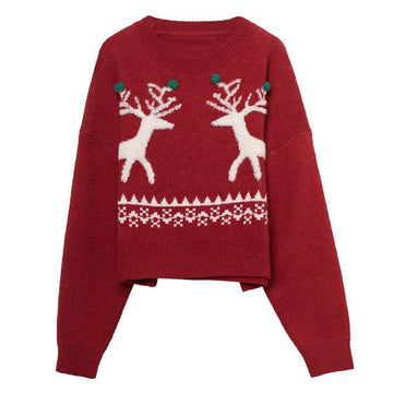 Modakawa Sweatshirt Red / One Size Christmas Reindeer Sweater Knitted Pullover