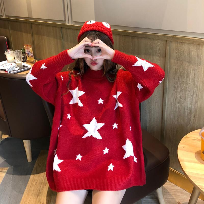 Modakawa Sweatshirt Red / One Size Fashion Sweet Star Loose Sweater