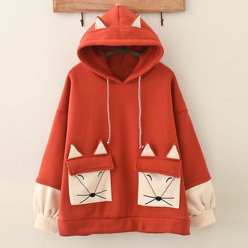 Modakawa Sweatshirt Red / One Size Fox Embroidered Drawstring Pocket  Inner Fleece Hoodie