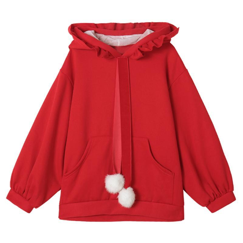 Modakawa Sweatshirt Red / One Size Fuzzy Ball Ruffle Hoodie Sweatshirt