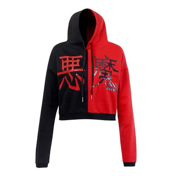 Modakawa Sweatshirt Red / S Devil Color Block Short Crop Hoodie