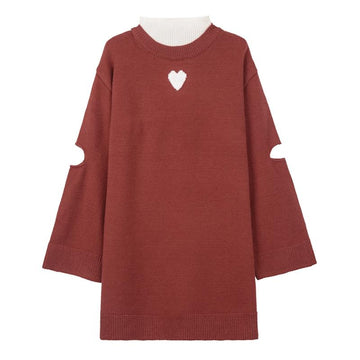 Modakawa Sweatshirt Red / S Love Heart Hollow Out Turtleneck Long Sweater
