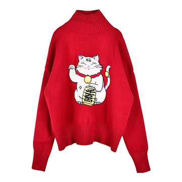 Modakawa Sweatshirt Red / S Lucky Cat Turtleneck Red Sweater