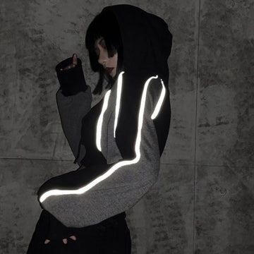 Modakawa Sweatshirt Reflective Color Block Pocket Crop Hoodie