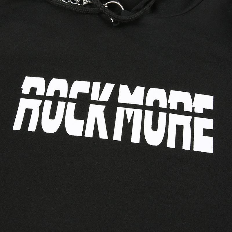 Modakawa Sweatshirt ROCK MORE Letter Print Hip Hop Chain Crop Hoodie