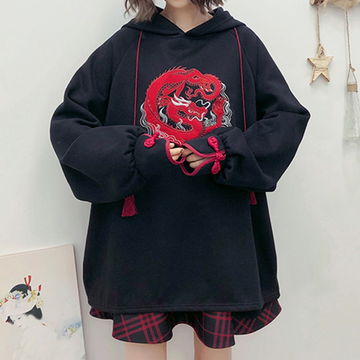 Modakawa Sweatshirt Rose Dragon Embroidery Tassels Hoodie Dress