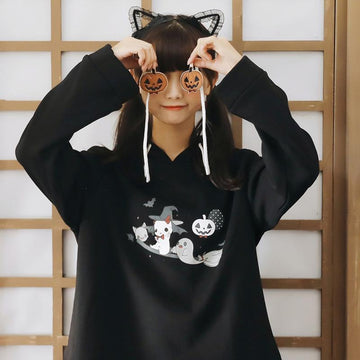 Modakawa Sweatshirt S Cute Halloween Cosplay Devil Pumpkin Hoodie