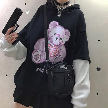 Modakawa Sweatshirt SAD BEAR Print Fake Two-Piece Hoodie
