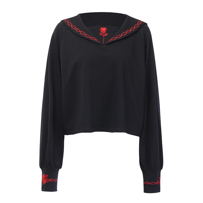 Modakawa Sweatshirt Sailor Collar Embroidery Sweatshirt