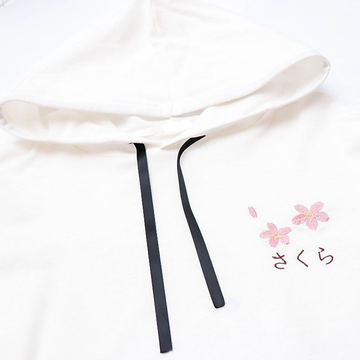 Modakawa Sweatshirt Sakura Embroidery Lace-up Sleeves Hoodie