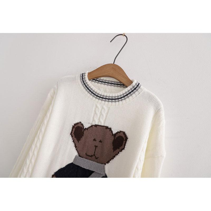 Modakawa Sweatshirt Scarf Bear Round Neck Loose Knitted Sweater
