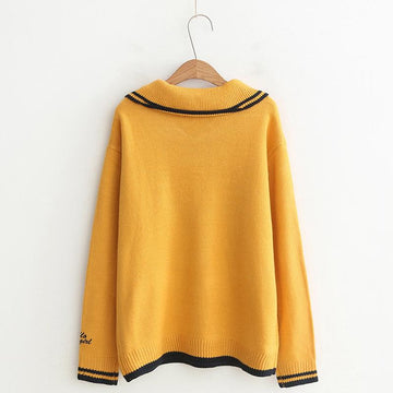 Modakawa Sweatshirt School Collar Stripe Bowkont Tie Embroidery Knitted Sweatshirt